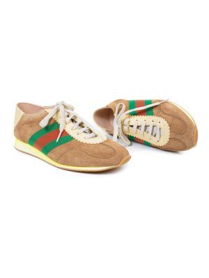 Beige Red Green Leather Sneakers