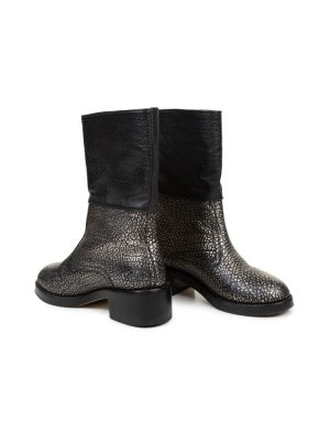 Black Silver Leather Boots by Chanel - Le Dressing Monaco