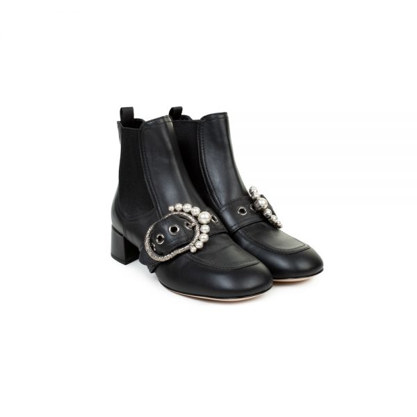 Black Leather Pearl Embellished Ankle Boots by Miu Miu - Le Dressing Monaco