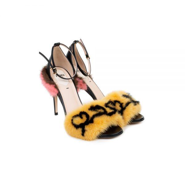 Yellow Fur Trimmed Leather Sandals by Fendi - Le Dressing Monaco