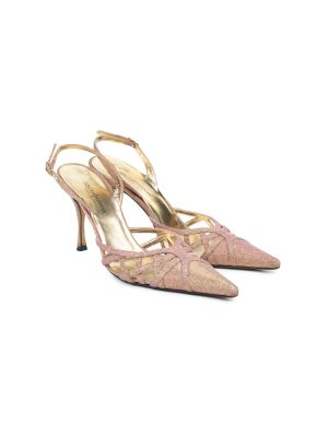 Pink Shiny Gold Leather Sling Back by Dolce e Gabbana - Le Dressing Monaco