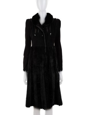 Black Coat With Mink And Patent Details by Gucci - Le Dressing Monaco