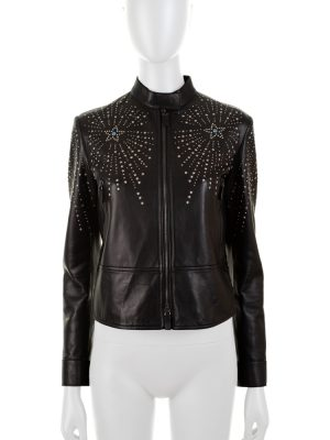 Studded Bird and Stars Turquoises Leather Jacket by Valentino - Le Dressing Monaco