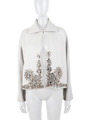 Crystal Ornamented Grey Wool Jacket by Gianfranco Ferre - Le Dressing Monaco