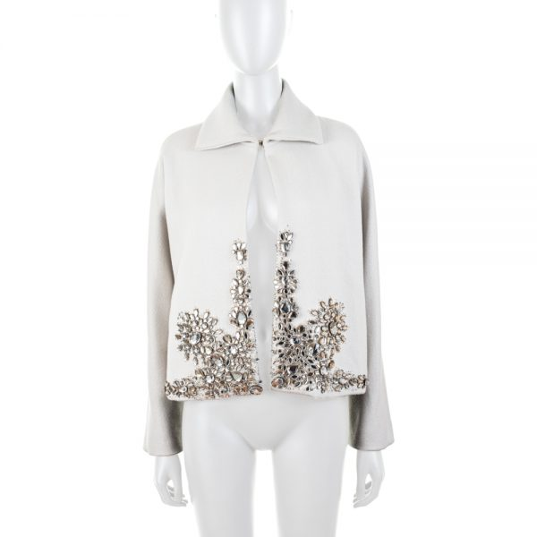 Crystal Ornamented Grey Wool Jacket by Gianfranco Ferre - Le Dressing Monaco