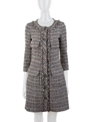 Grey Tweed Bouclé Dress P46 by Chanel - Le Dressing Monaco
