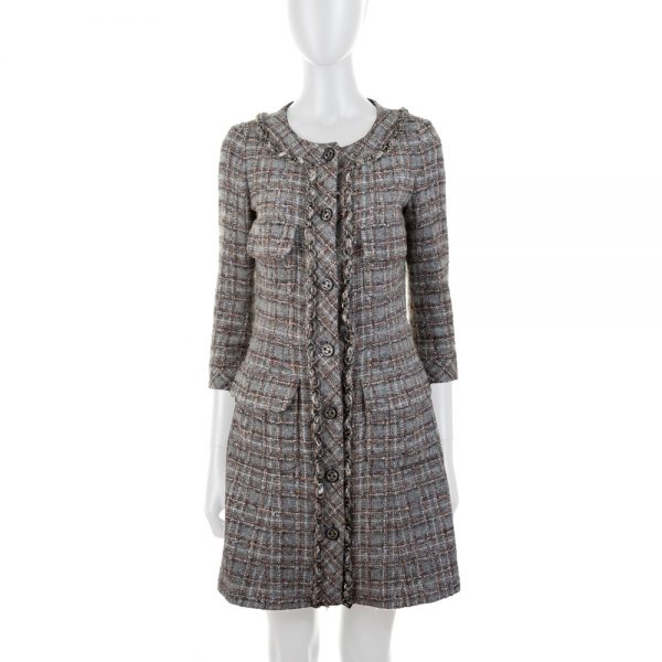 Grey Tweed Bouclé Dress P46 by Chanel - Le Dressing Monaco