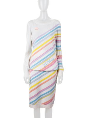 Pastel Stripes Knitted Jumper And Skirt by Chanel - Le Dressing Monaco