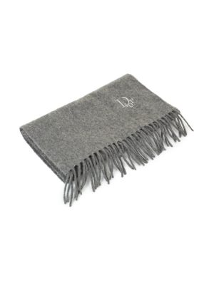 Grey Embroidered Fringed Scarf by Dior - Le Dressing Monaco Url preview:https://ledressingmonaco.com › Grey-Embroidered-Fringed-Scarf