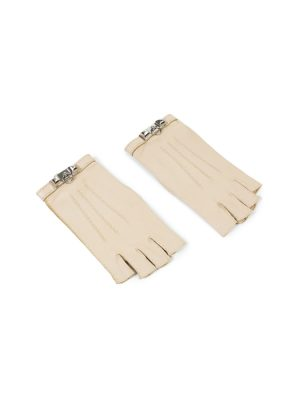 Beige Leather Fingerless Gloves by Hermes - Le Dressing Monaco