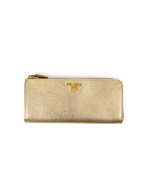 Gold Leather Wallet Gold Hardware by Prada - Le Dressing Monaco
