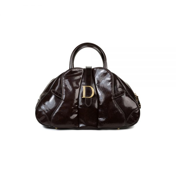 Brown Patent Leather Saddle dome Handbag by Dior - Le Dressing Monaco