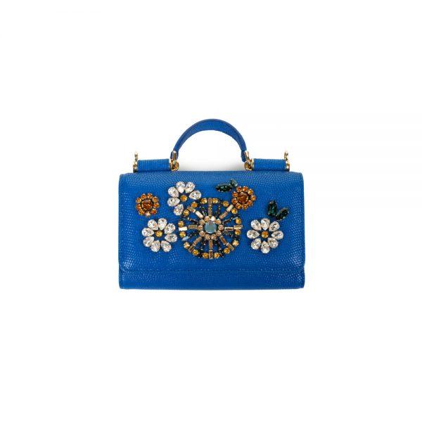 Blue Crystal Embellished Mobile Holder by Dolce e Gabbana - Le Dressing Monaco