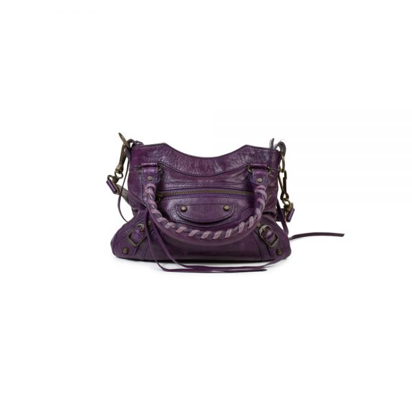 Purple Mini City Leather Bag with Mirror by Balenciaga - Le Dressing Monaco