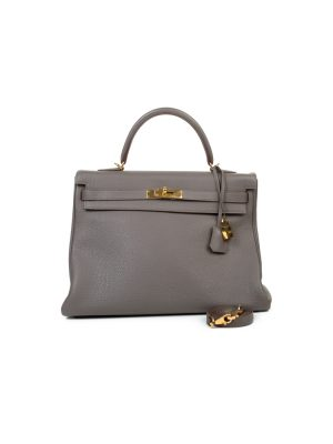 Kelly 35 Grey Togo Leather by Hermès - Le Dressing Monaco