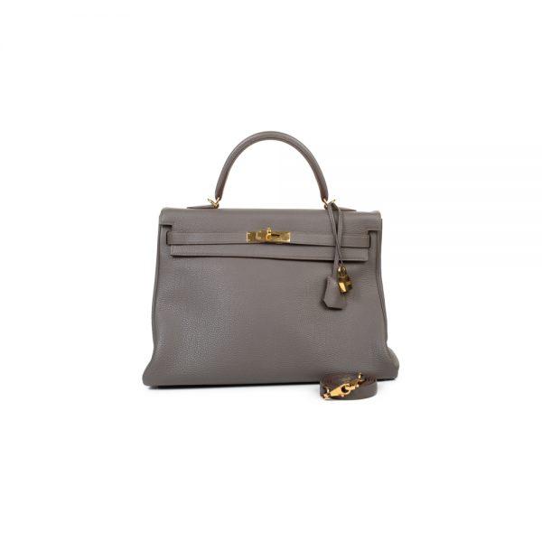 Kelly 35 Grey Togo Leather by Hermès - Le Dressing Monaco