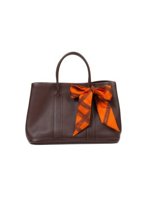 Brown Garden Party Handbag Orange Twilly by Hermès - Le Dressing Monaco