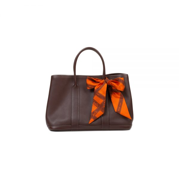 Brown Garden Party Handbag Orange Twilly by Hermès - Le Dressing Monaco