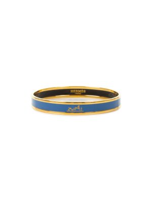 Blue Enamel Horse and Carriage Bangle Bracelet by Hermès - Le Dressing Monaco