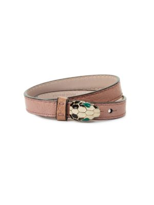 Pink Double Wrap Serpenti Leather Bracelet by Bulgari - Le Dressing Monaco