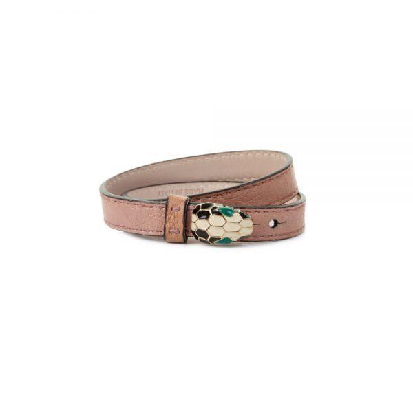 Pink Double Wrap Serpenti Leather Bracelet by Bulgari - Le Dressing Monaco