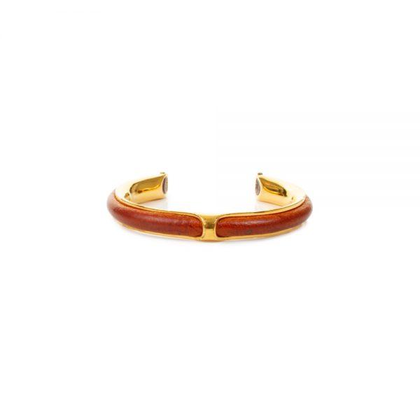 Orange Leather Gold Kyoto Bangle Bracelet by Hermès - Le Dressing Monaco