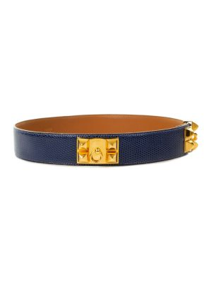 Blue Lizard Collier De Chien Belt by Hermès - Le Dressing Monaco