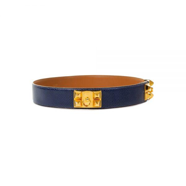 Blue Lizard Collier De Chien Belt by Hermès - Le Dressing Monaco