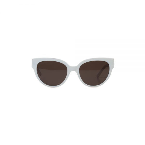 White Plastic Sun Glasses by Balenciaga - Le Dressing Monaco
