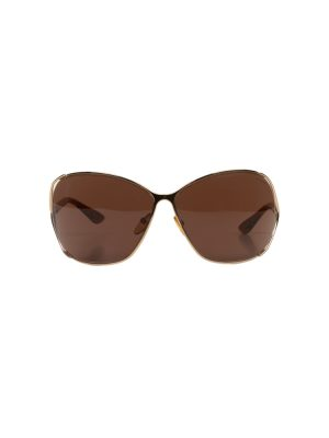 Gold Brown Round Sun Glasses by Tom Ford - Le Dressing Monaco