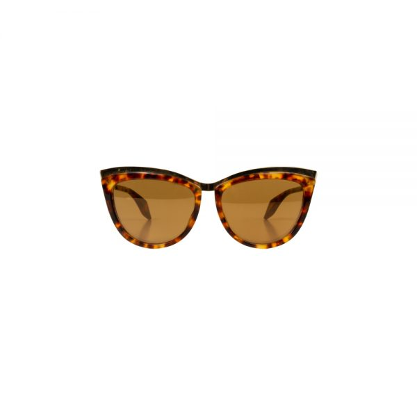 Brown Gold Leopard Sun Glasses by Alexander McQueen - Le Dressing Monaco