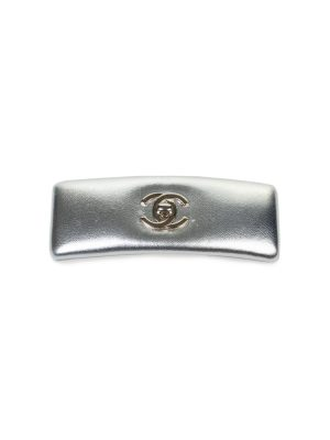 Silver Leather Silver Logo Hair clip by Chanel - Le Dressing Monaco