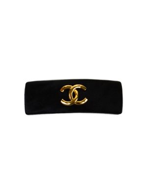 Black Satin Gold Logo Hair clip by Chanel - Le Dressing Monaco