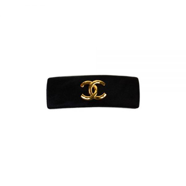 Black Satin Gold Logo Hair clip by Chanel - Le Dressing Monaco