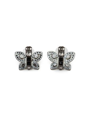 White Pearl Butterfly Silver Metal Earrings by Chanel - Le Dressing Monaco
