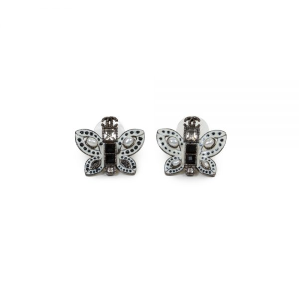 White Pearl Butterfly Silver Metal Earrings by Chanel - Le Dressing Monaco