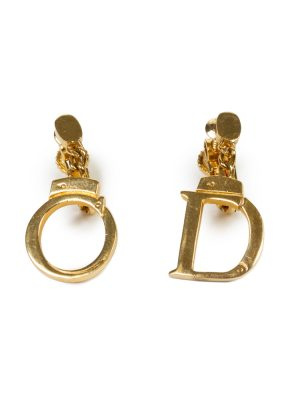 Gold Logo Gold Metal Earrings by Christian Dior - Le Dressing Monaco