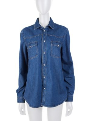 Blue Button Down Denim Shirt by Saint Laurent - Le Dressing Monaco