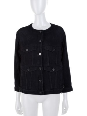 Black Embellished Short Denim Jacket by Chanel - Le Dressing Monaco