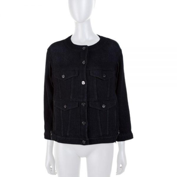 Black Embellished Short Denim Jacket by Chanel - Le Dressing Monaco