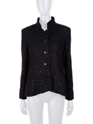 Black Shiny Plexi Logo Button Jacket by Chanel - Le Dressing Monaco