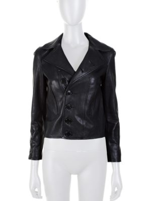 Black Short Blazer Cut Leather Jacket by Saint Laurent - Le Dressing Monaco