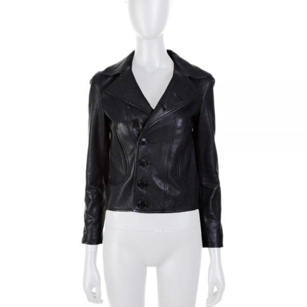 Black Short Blazer Cut Leather Jacket by Saint Laurent - Le Dressing Monaco