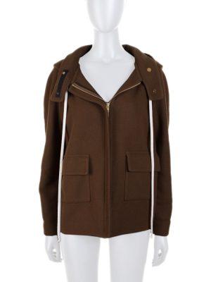Kaki Hoodie Zipped Cashmere Jacket by Celine - Le Dressing Monaco