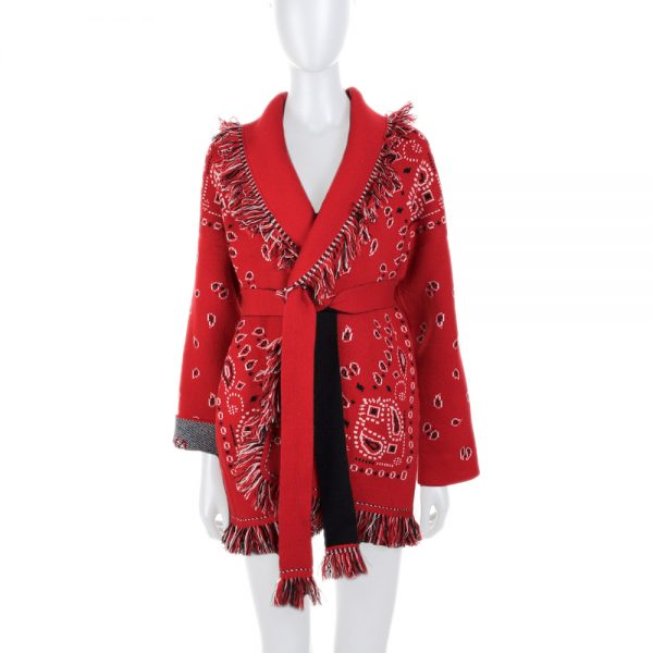 Red Fringed Bandana Knitted Col Chale Cardigan by Alanui - Le Dressing Monaco