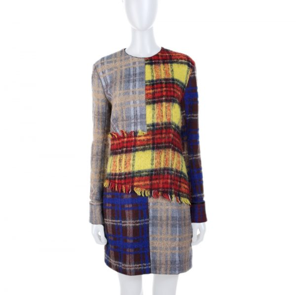 Red Yellow Black Patchwork Fringed Dress by Acne Studio - Le Dressing Monaco