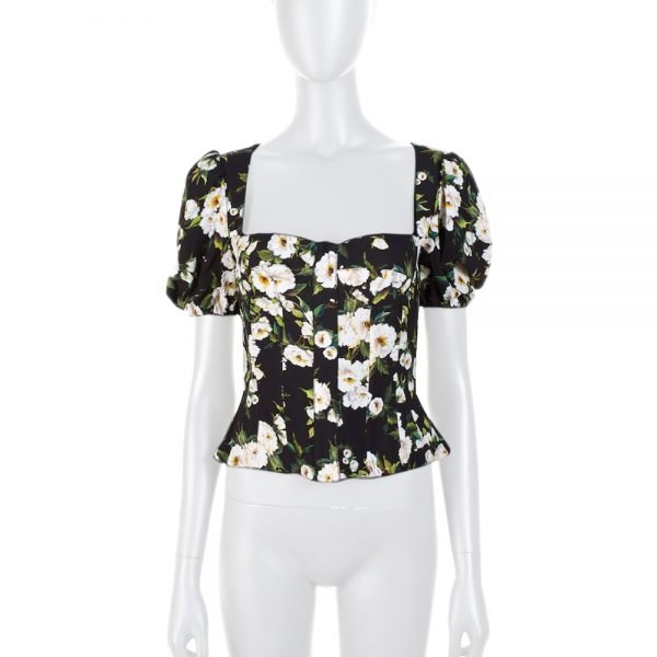 Black White Flower Puff Sleeves Top by Dolce e Gabbana - Le Dressing Monaco