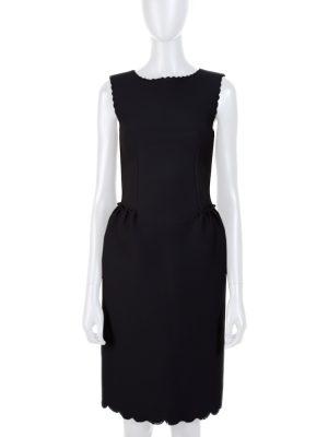 Black Neoprene Laser Cut Dress by Lanvin - Le Dressing Monaco