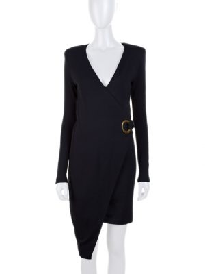 Black Asymmetric Jersey Long Sleeve Dress by Balmain - Le Dressing Monaco