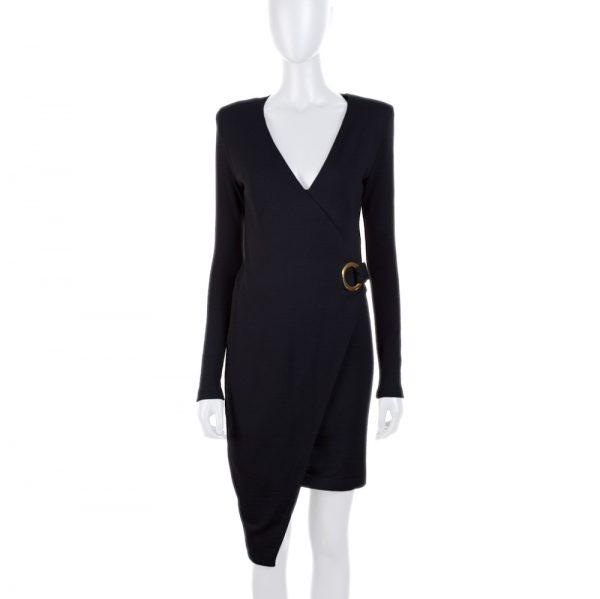 Black Asymmetric Jersey Long Sleeve Dress by Balmain - Le Dressing Monaco